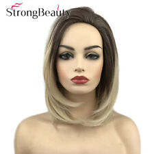 Short Ombre Brown Blonde Straight Bob Hair Wig Synthetic Full Wigs for Women