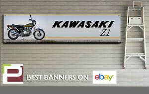 Kawasaki Z1 900 Motorcycle Banner for Workshop, Garage, Large 2000mm x 500mm