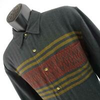 Men The Territory Ahead Black Flannel Tribal Button Shirt Size Large Long Sleeve