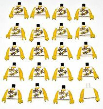 LEGO LOT OF 20 NEW WHITE FEMALE MINIFIGURE GIRL TORSOS WITH YELLOW ARMS PARTS