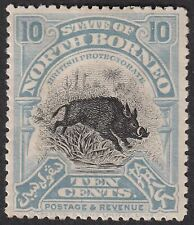 North Borneo 1909 KEVII Wild Boar 10c Greyish Blue p13½-14 Mint SG170 cat £50