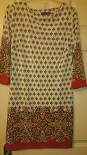 Womens classic casual 3/4 sleeve tunic in white/red floral by Atmosphere size 12