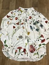Warehouse White Floral Long Sleeve Button Up Blouse UK14 Keyhole Opening A23