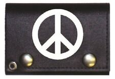Peace Symbol Black Genuine Leather Wallet With Chain (4 inch)
