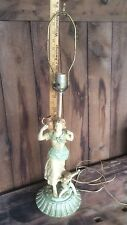Antique Spelter Metal Lamp , Fleur De Lis Stamp , Woman & Child , Jonchery