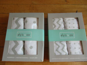 LOT OF 2 - Ely's & Co.  Grey Waterproof Bassinet Sheet 2-Pack Set for Baby Boy