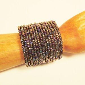 "2 1/2"" Wide Pewter Multi Color Handmade Boho Beaded Bali Cuff Statement Bracelet"