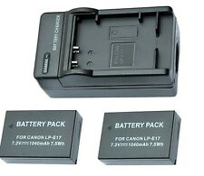 2xCompatible Battery & Charger  LP-E17  fits Canon 750D 760D M3 no battery meter
