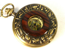 Pocket Watch Zodiac signs Victorian Old West Repro Skeleton see-thru Wind up