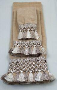 Avanti Towel Set Tassel Fringe (3) Bath Hand & Fingertip Decorative Tan Neutral