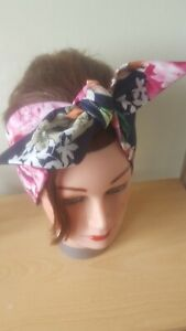 HEAD SCARF HAIR BAND NAVY PINK ROSES FLORAL STRETCH  ROCKABILLY  PIN UP SWING