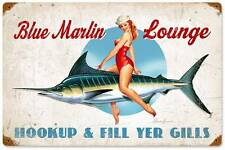 New! Blue Marlin Lounge Licensed Retro Metal Vintage Sign by Ralph Burch RB039