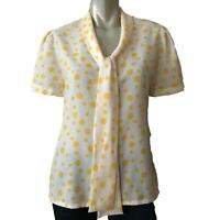 Vintage Judy Bond Blouse Top White Yellow Polka Dot Short Sleeve Women's Size 12