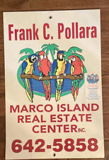 """Vintage Florida Real Estate Metal Sign 18""""x 12"""" Parrot Palm Trees Marco Island"""