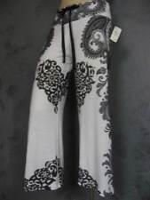 Claire Pettibone Pant Yoga Capri Lounge Black White Paisley Neiman Marcus NeW XL