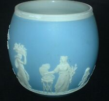 WEDGWOOD JASPERWARE Pale Blue Biscuit Barrel 1891-98 Offering to Peace/Sacrifice