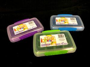 3 x Sistema 12 Ice Cubes Tray With Airtight Lids 17 x 11.5 x 4cm BPA free