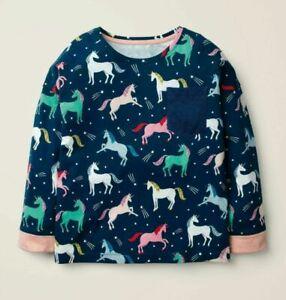 NEW Ex Mini Boden  Girls Size 11 -12 Years Unicorn Print  Cotton Jersey Top