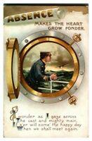 Antique military WW1 postcard Absence makes the heart grow fonder sailor