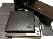 HUGO BOSS '50250331' 'ASOLO' BI FOLD BLACK LEATHER COIN WALLET BOSS BLACK