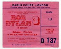 Bob Dylan Ticket Vintage Earls Court Night 3 1978