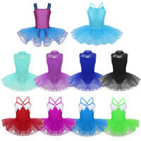Girls Sequins Ballet Tutu Dance Dress Gymnastics Leotard Dancewear Swan Costume