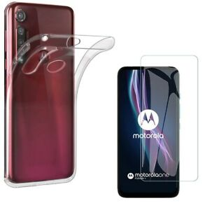 For MOTOROLA MOTO ONE FUSION PLUS CLEAR CASE + TEMPERED GLASS SCREEN PROTECTOR +