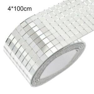 100x4cm Mirror Glass Mosaic Tiles Self Adhesive Sticker Mini Squares DIY C9M2