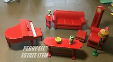 1931 STROMBECKER WOODEN DOLL HOUSE FURNITURE RED LIVING ROOMSET w/ GRAND PIANO