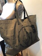 NEW ARMANI JEANS LIGHT GRAY Large Tote Bag Nylon Patent Leather Handbag Purse