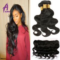 "Brazilian Hair Body Wave 3Bundles with 13""x4 Frontal Lace Closure Human Hair"