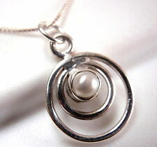 Very Small Pearl Pendant in Double Hoop 925 Sterling Silver New