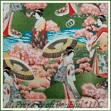 BonEful Fabric Cotton Green Asian Geisha Girl Fan Scenic Oriental Flower L SCRAP