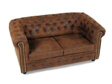 CHESTERFIELD Polstersofa Sofa 2-Sitzer 2er Couch Gobi Microvelour Braun Edel