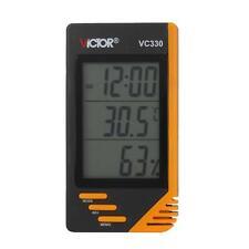 Digital LCD Indoor Thermometer Hygrometer Clock Temperature Humidity Meter