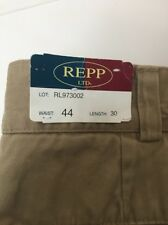 Repp Ltd  Big &Tall 100% Cotton Khaki Pleated Front Pants 44x30 -A42
