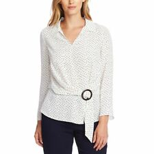 VINCE CAMUTO Women's Printed Buckled Front Blouse Shirt Top TEDO