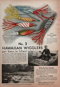 1948 Fred Arbogast #3 Hawaiian Wigglers Fishing Lures Original Color Ad