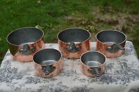 Copper Pans Villedieu Vintage French 1.9-2.1mm Set Five Nickel Lined Durable