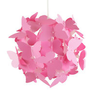 Modern Pink Butterflies Ceiling Pendant Light Lamp Shade Girls Bedroom Lighting
