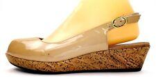 Clarks Artisan Womens Wedges Size 9.5 Tan Patent Leather Peep Toe Slingback