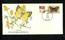 US Topical Cover 50 States Butterflies Flowers Kansas KS Clouded Sulphur Clover
