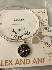 """ALEX AND ANI """"COLOR INFUSION PISCES"""" SHINY SILVER Bangle NWT & Card"""
