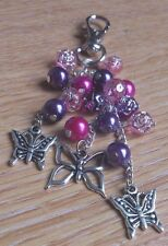 hand-made handbag charm/keyring- pink/purple butterfly -girls/ladies