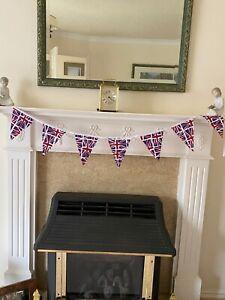 NEW !  Handmade Traditional Patriotic British Union Jack  Cotton Fabric Bunting