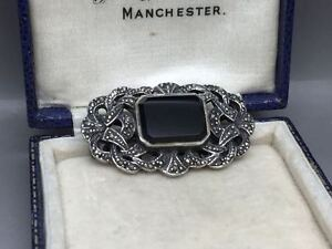 Lovely Vintage Victorian Style Sterling Silver Marcasite Onyx Brooch