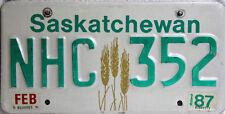 Sascatchewan Original license plate plaque Canada NHC 352 image d'origine