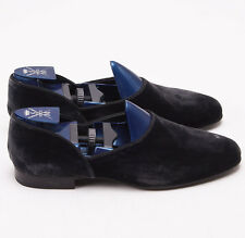 NIB $845 SUTOR MANTELLASSI Charcoal Gray Velvet Evening Shoes US 8 D Tuxedo