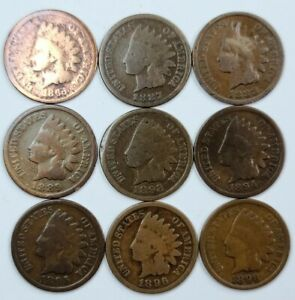 INDIAN HEAD 1¢ CENT PENNY LOT OF 9 COINS 1863, 87, 88, 89, 92, 94, 95, 96, 98