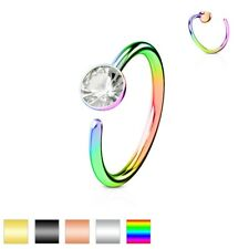GEM Hoop Nose EAR Helix Cartilage Auricle Rook Daith Snug Orbital RINGS Earrings